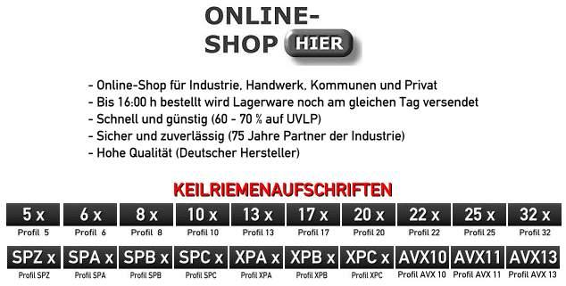 Keilriemen XPZ Onlineshop