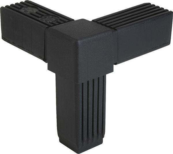 Steckverbinder 30x30x2 Vierkantrohr =KREUZ MIT ABGANG= Edelstahl Kunststoff